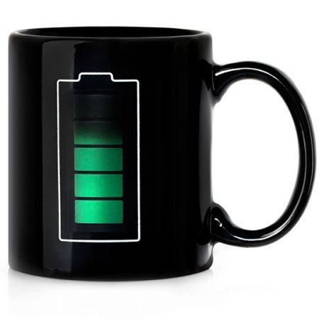 """Кружка """"Батарейка""""  - зарядка термочувствительная и меняющая цвет"""