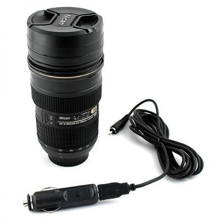 Термостакан обьектив фотоаппарата Nican с адаптером в прикуриватель и USB