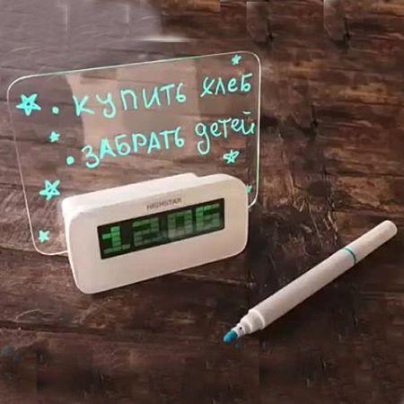 Часы -будильник настольные HighStar с доской и маркером для записей (Led зеленая подсветка)