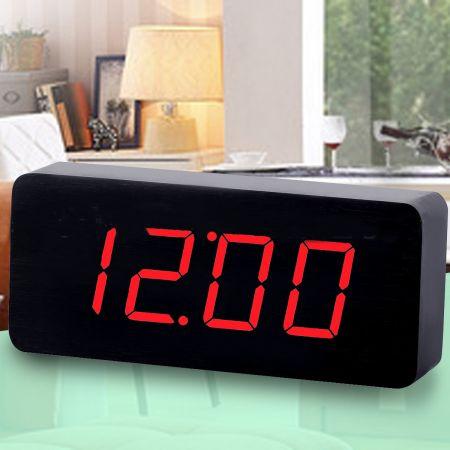 """Часы-будильник """"Прямоугольник"""" большой 21 см. черное дерево красные цифры зв. активация"""