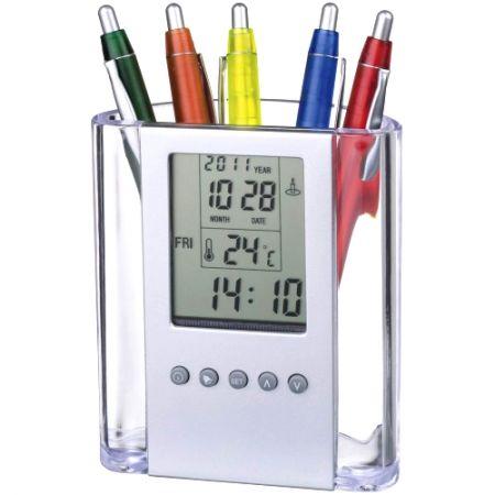 """Часы-будильник """"Подставка для ручек"""" с термометром"""