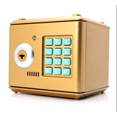 Копилка электронный сейф с кодовым замком для детей золотой