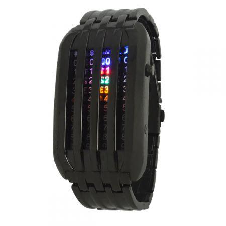 """Led Watch - часы """"Матрица"""" 4 линии наручные черные"""