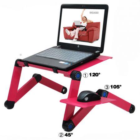 Столик для ноутбука раскладной розовый с полкой и охлаждением