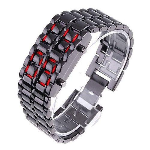 """Led Watch - часы """"Iron Samurai"""" наручные черные с красными диодами"""