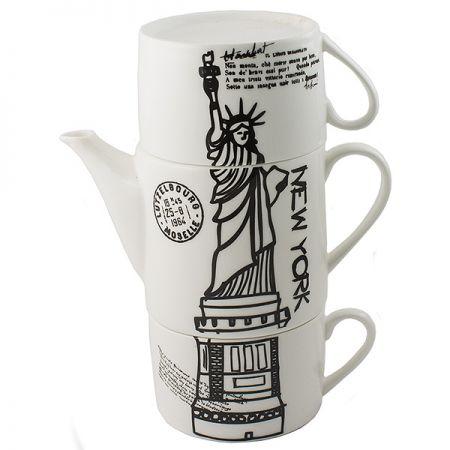 Чайник с двумя кружками Нью-Йорк,фарфор